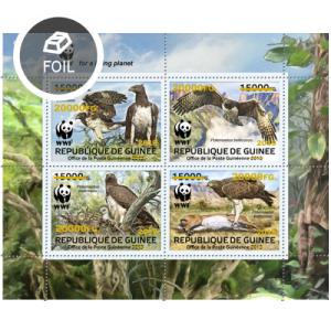 GUINEA - 2019 - WWF Birds of Prey Red o/p - Perf 4v Sheet - M N H