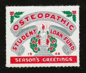 OSTEOPATHIC STUDENT LOAN FUND STAMP SEASONS GREETINGS 1946