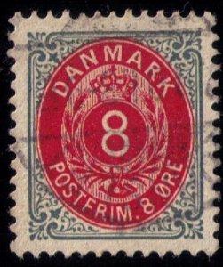 Denmark Scott #44d Used ,Slate & Carmine ,Wmk 113 , XF/Superb