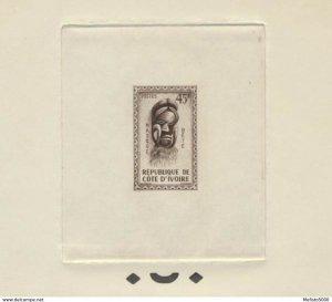 Ivory Coast 187 Artist die sepia proof (3-5 exist). 1960 Mask