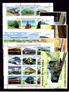 Sierra Leone 1850-53Q MNH 1995 Locomotives 4 sheets of 12; 5 S/S