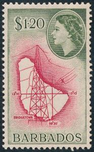 Barbados 1956 $1.20 Carmine & Bronze-Green SG300 MVLH