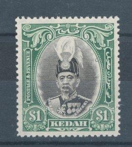 Malaya States - Kedah 1937 Sultan Abdul Hamid Halim Shah $1 Scott # 52 MH