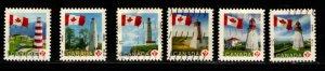 Canada - #2249 - 2253B Flag over Lighthouses set/6 - Used