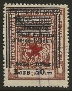 Fiume-Rijeka Croatia 1945 Partisan Govt Revenue 50L/40L Brown Fine Used