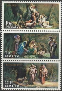 Malta, #B29a Unused Strip Of 3,  From 1977