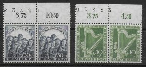Germany Berlin 1950 ,2 Pairs with Numbered Tabs,Sc # 9NB4-N9B5,VF MNH** V€400