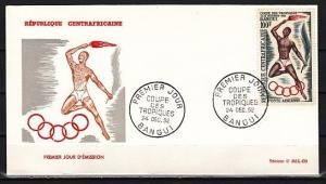 Central Africa, Scott cat. C9. Tropic Sport Games issue. First day cover. ^