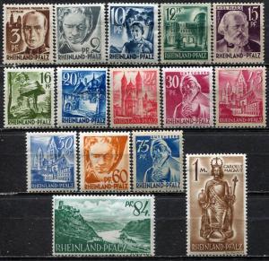 Germany, Rhine Palatinate; 1947-1948: Sc. # 6N1-6N15: */MH Cpl. Set