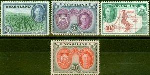 Nyasaland 1945 Set of 4 Top Values SG154-157 Fine Mtd Mint