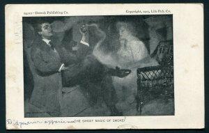 1907 Postcard - Cigarette Smoke in Form of a Pretty Lady - Lebanon, Pennsylvania