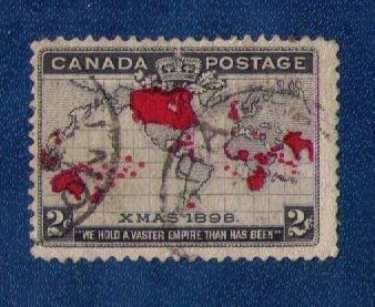 Canada Sc 85 Used Merry Christmas Map Of British Commonwealths F-VF