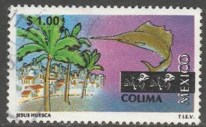 MEXICO 1960, $1.00 Tourism Colima, resort, fishing. USED. F-VF. (1483)