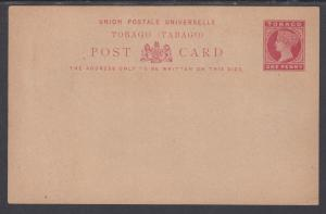 Tobago H&G 6 mint 1892 1p QV Postal Card, F-VF