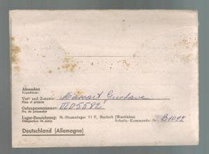 1943 Bocholt Germany Stalag 6F POW Prisoner of War Letter Cover to Belgium