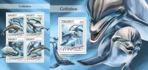 mozambique 2016 marine life dolphins mammals klb+s/s MNH