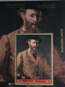 MANAMA AIRMAIL STAMP: 1972   PAINTING OF MANET PORTRAITS- CTO MNH S/S