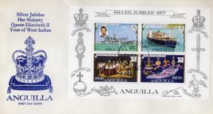 Anguilla 1977 Sc#300a Royal Visit/Ships Souvenir Sheet  ovpt.Official FDC