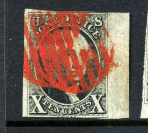 Scott 2 Washington Imperf Used Stamp w/PF Cert (2-35) Red Paint Mobile AL Cancel