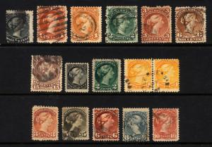 Early Canada #21-#45 1868-97 Queen Heads Nice Mostly Used Lot 15 items