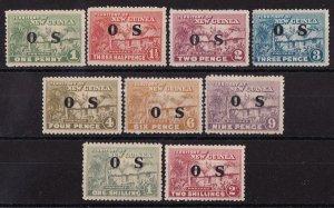 NEW GUINEA 1925 Huts OS set 1d to 2/- MNH **