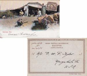 Egypt 1m Sphinx and Pyramid 1907 Alexandria Printed matter PPC (Bedouin Hut) ...