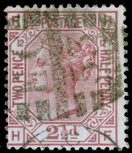 SG141, 2½d rosy mauve PLATE 12, USED. Cat £80. HF