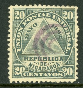 Nicaragua 1882 ABNC 20¢ w/ Concentric Circle Cancel  L741