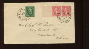 Guam Scott 1 & 2 Plate # Pair Overprint Used Stamps on Nice 1902 Cover to Ohio