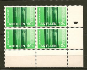 Netherlands Antilles Lower Right 40 Cent Stamp Block of 4 MNH