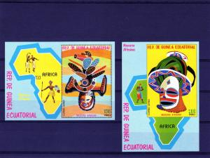 Equatorial Guinea 1977 Mi# 259/260 African Masks 2 S/S Perf+Imperf.MNH