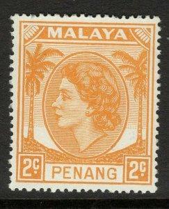 MALAYA PENANG SG29 1954 2c YELLOW-ORANGE MNH