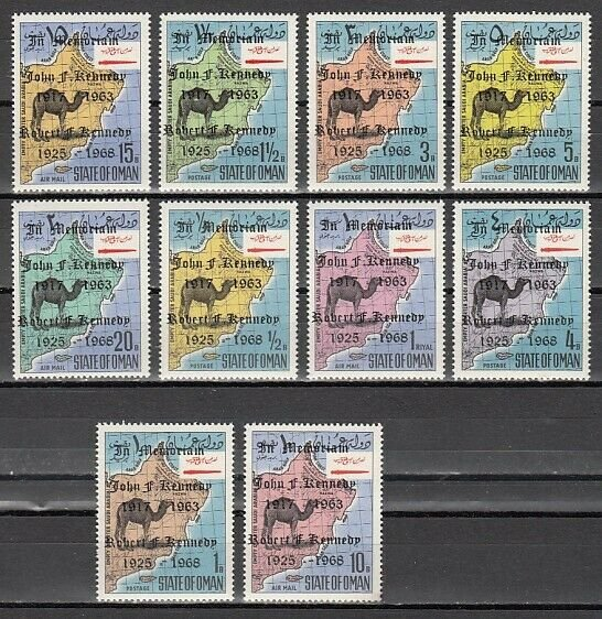 Oman State, 1969 issue. Camel Definitive issue with John Kennedy o/print. ^