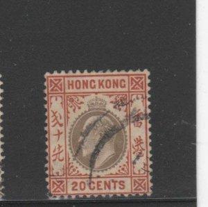HONG KONG #78  1903  20c  KING EDWARD VII    USED F-VF  a