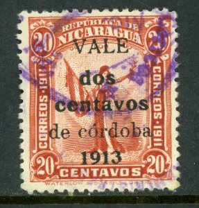 Nicaragua 1913 Liberty Gold Currency 2¢20¢ Red Sc 319 VFU Q521