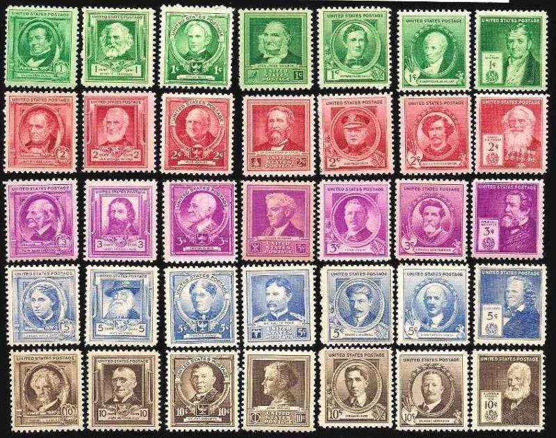Sc 859 - 893 1940 Complete FAMOUS AMERICAN SET MNH 35 Stamps CV $33.10