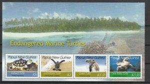 Papua New Guinea MNH S/S 1253 Endangered Turtles CV 12.00