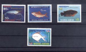 024629 FISH BANGLADESH 1983 set 4 stamps MNH#24629
