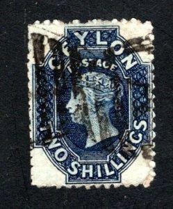 Ceylon #58,  F/VF, Used, Wmk. 1a, CV $45.00 ....  1290044