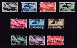 Italy a small lot of MH Air stamps from about late 1940's