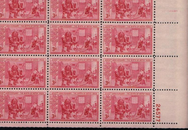 #1004  MNH sheet of 50 3c Betsy Ross 1951 Issue