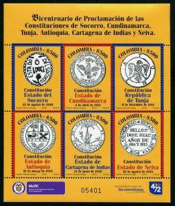 HERRICKSTAMP COLOMBIA Sc.# 1391 200 Years Constitutions Sheetlet