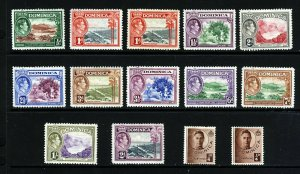DOMINICA King George VI 1938-47 Pictorial Part Set SG 99 to SG 109a MINT