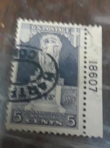 Usa Used 5c Erickson Plate Single 1927