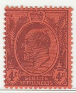 MALAYA STRAITS SETTLEMENT 1904 KE VII 4c Mint LH wmk MCCA SG #129 M1413