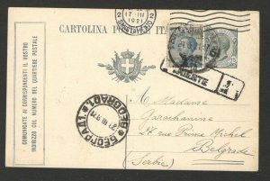 ITALY TO SERBIA -TRAVELED POSTCARD - STATIONERY - 1921.