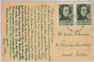 65460 - POLAND - Postal History -  STAMPS on POSTCARD 1948 - MUSIC Chopin