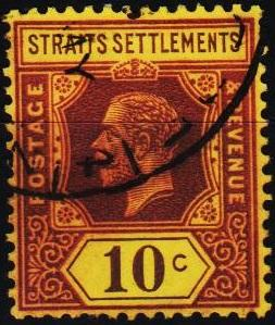 Straits Settlements. 1912 10c S.G.202 Fine Used