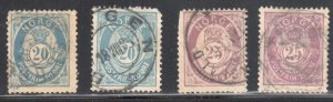 Norway #44a, 44b, 45 x 2 shade -- all USED