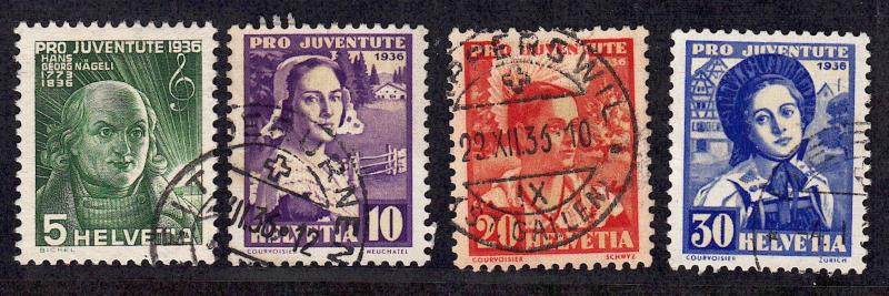 Switzerland #B81-B84, used, CV$33.00